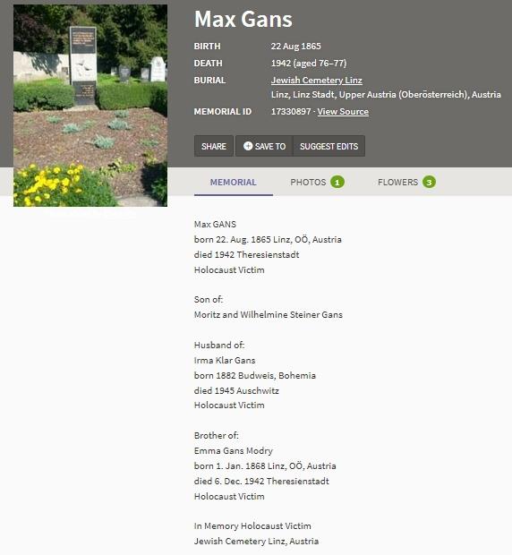 """Záznam na webu """"Find a Grave"""" doprovází snímek památníku obětí holocaustu na židovském hřbitově v Linci"""