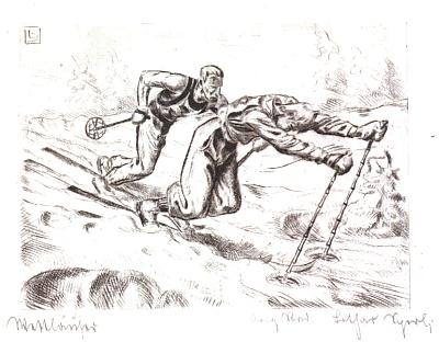 Dva lyžařské motivy na grafikách Lothara Sperla ze sbírky Erharda Gattermanna