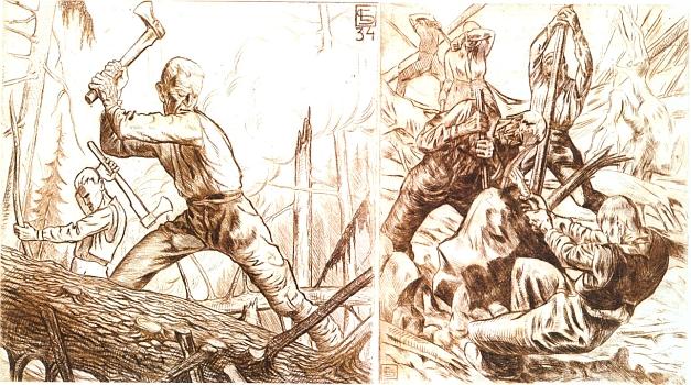 I tyto dvě grafiky s dřevorubeckými motivy od Lothara Sperla pocházejí ze sbírky Erharda Gattermanna