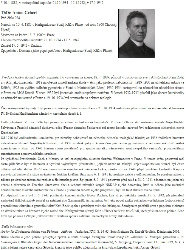 Na stránkách pražské metropolitní kapituly, jejímž byl v letech 1934-1942 členem