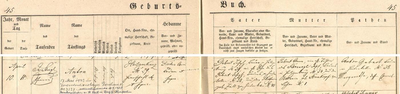 Záznam křestní matriky v Chodském Újezdě o jeho narození s pozdějším přípisem o úmrtí v koncentračním táboře