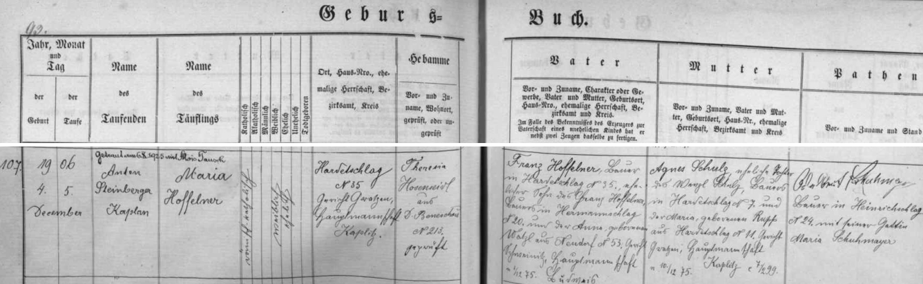 Záznam o narození její starší sestry Marie v prosinci 1906, jak se zachoval v hartunkovské matrice fary BenešovnadČernou