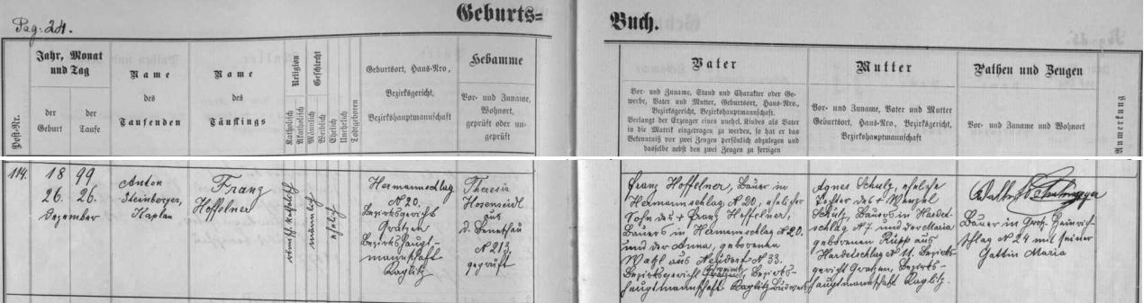 Starší bratr Franz se podle matriky benešovské fary narodil ještě v Kuří, odkud pocházel otec