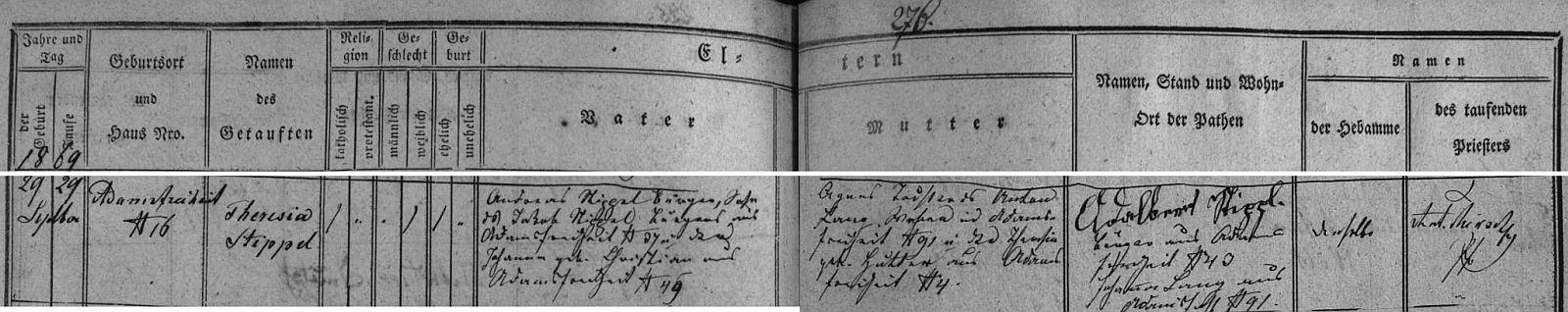 Záznam křestní matriky farní obce Hůrky (Adamsfreiheit) o narození matčině