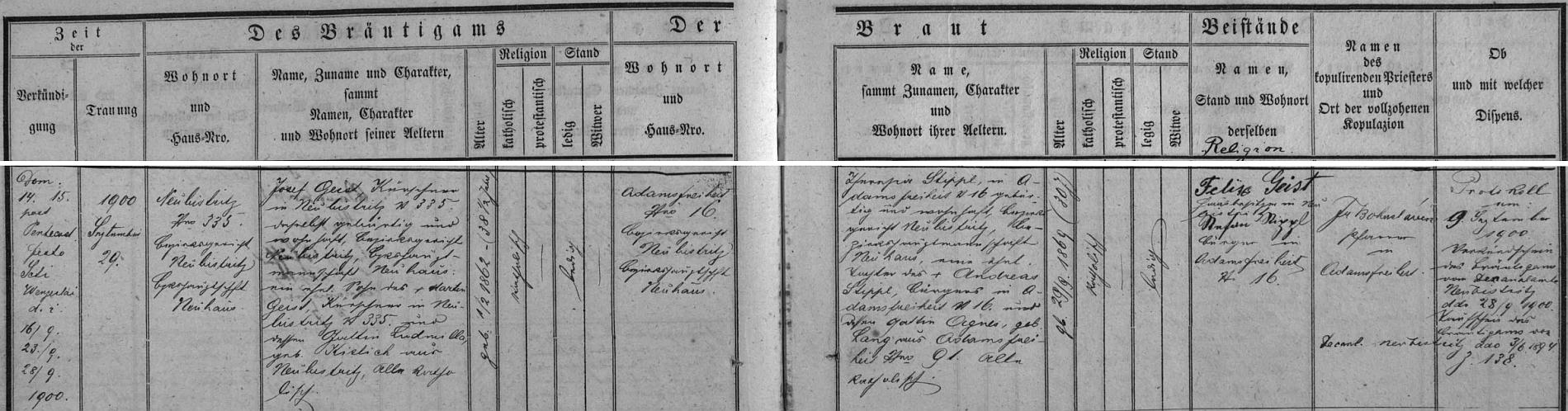 Záznam oddací matriky farní obce Hůrky (Adamsfreiheit) o svatbě rodičů