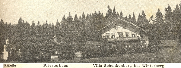 Vila Na Radosti (Schenkenberg) u Vimperka, kam rovněž zavítával i do kněžského domku (na staré pohlednici uprostřed)