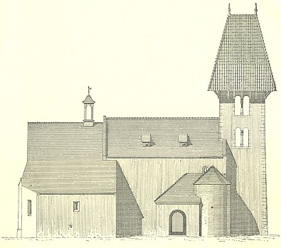 Bokorys kostela sv. Mikuláše v Boleticích od severu