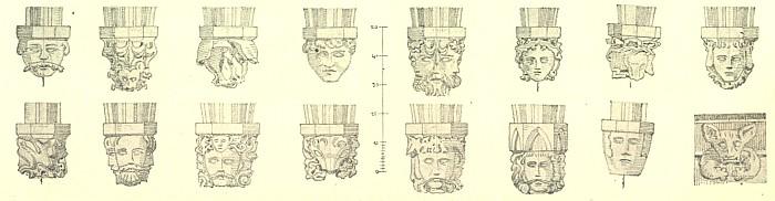 Gotické konsoly ze sakristie boletického kostela a medvěd z římsy tamtéž