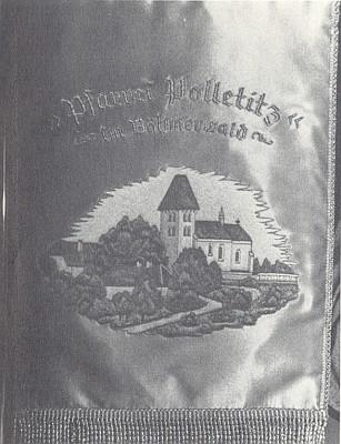 Detail farní korouhve vyhnanců z Boletic