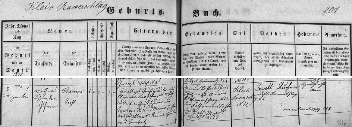 Narodil se v Malém Ratmírově čp. 12 chalupníkovi Adalbertu Geistovi (jeho otec Anton Geist sedlačil se svou ženou Marií v Jarošově čp. 51) a jeho ženě Marii, roz. Schütznerové, dceři Paula Schütznera, chalupníka z Malého Ratmírova čp. 12, a jeho ženy Kathariny, roz. Madlové, také odtud