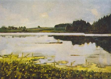 Ratmírovský rybník na obraze malíře a ilustrátora Adolfa Zábranského z konce padesátých let 20. století