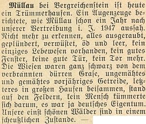 Zpráva o stavu obce Milov (zde psáno Müllau bei Bergreichenstein) v krajanském měsíčníku z února 1951 - louky černé spálené trávy, neposečené obilí, dveře i vrata zmizely, nikde živáčka