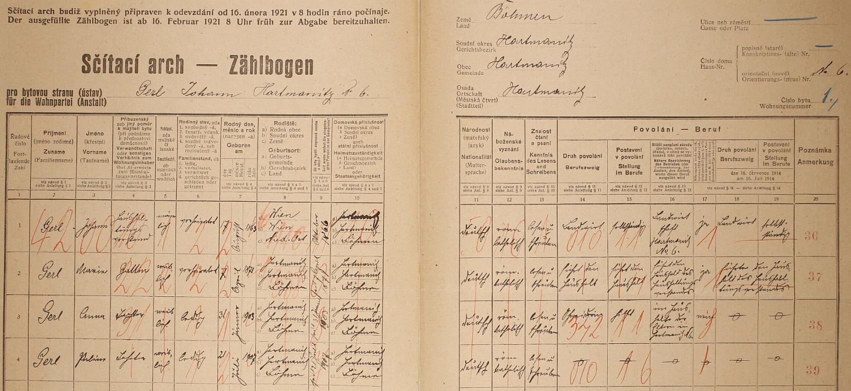 Arch sčítání lidu z roku 1921 pro dům čp. 6 v Hartmanicích
