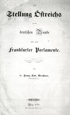 Titulní list (1848) jeho brožury