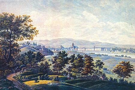 Pohled na Franfurkt nad Mohanem kolem roku 1840