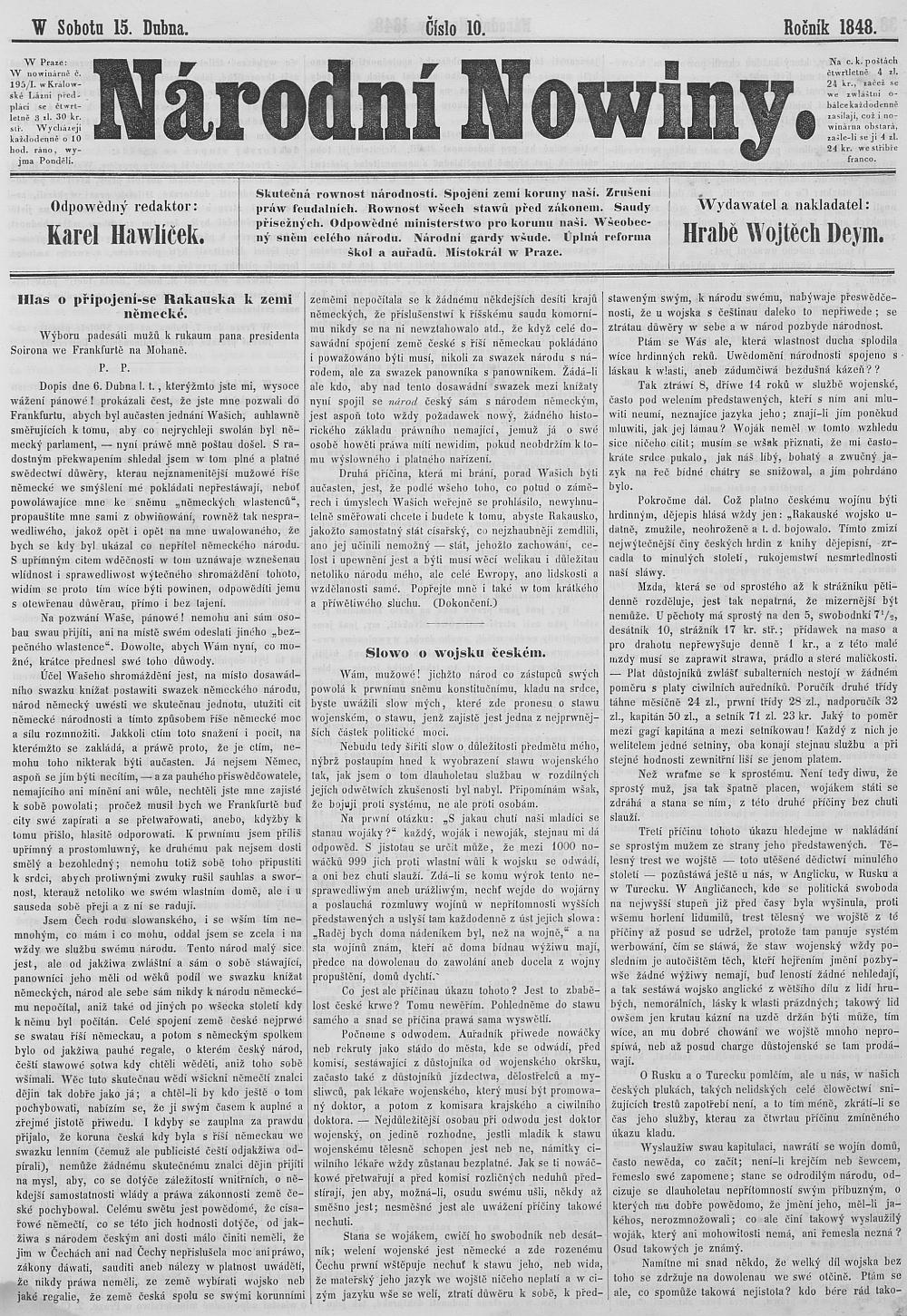 Havlíčkovy Národní noviny z 15. dubna roku 1848 s dopisem Františka Palackého do Frankfurtu jako úvodním svýmtextem