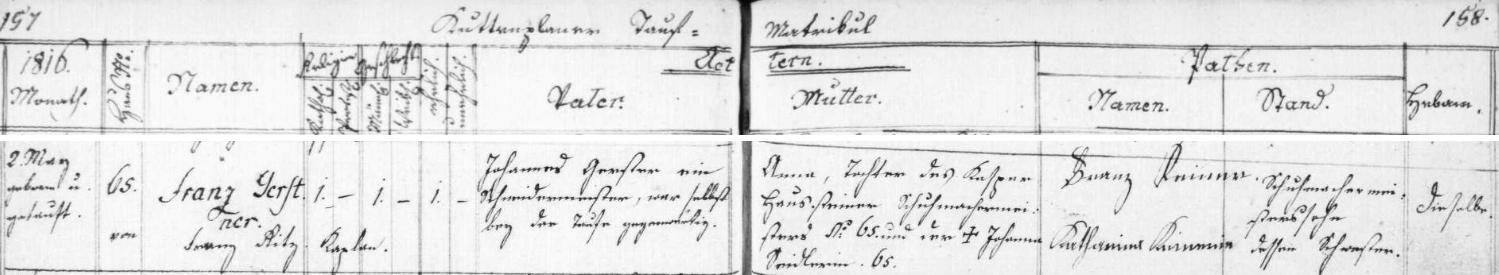 Záznam o jeho narození v křestní matrice farní obce Chodová Planá