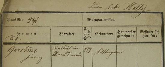 """Jeho pražská policejní přihláška s chybným letopočtem narození a v rubrice """"Charakter"""" s označením """"Candidat der J.u.Doct. würde"""""""