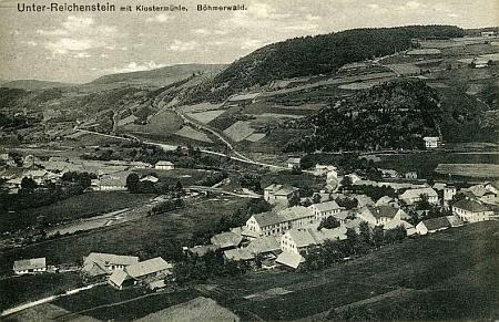 Klášterský Mlýn u Rejštejna na pohlednici Josefa Schustera z počátku 20. století
