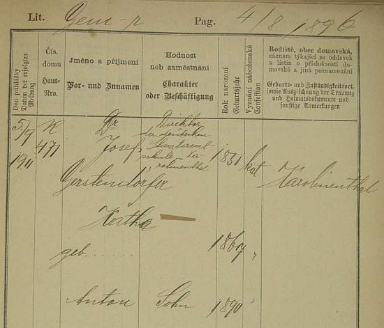Gerstendörferova pražská pobytová přihláška z roku 1911 uvádí tu i jeho ženu Kathe (*1867) a syna Antona (*1890) - on sám byl tehdy ředitelem německé státní reálky v Karlíně