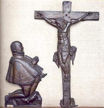 Modlící se Vilém z Rožmberka na měděném reliéfu Jana (Honzy) Dorna z roku 1596-1597