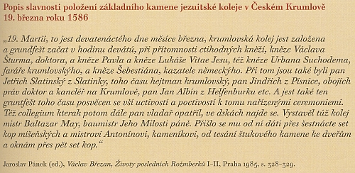 Popis slavnosti položení základního kamene jezuitské koleje v Českém Krumlově z Březanových životů posledních Rožmberků