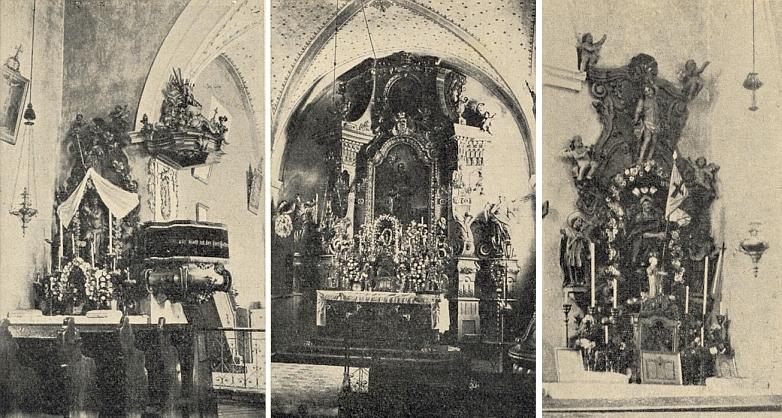 Tři oltáře farního kostela sv. Bartoloměje ve Ktiši: postranní mariánský, hlavnía vpravo ten boční ke cti sv. Floriana kdysi...