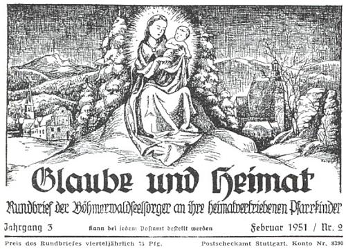 Záhlaví únorového čísla měsíčníku Glaube und Heimat z roku 1951, které doprovází jeho článek o tom, kdy se s tímto časopisem setkal poprvé