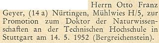Blahopřání k jeho promoci na doktora přírodních věd ve Stuttgartu 14. května roku 1952 na stránkách krajanského měsíčníku