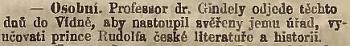 Zpráva Národních listů o Gindelyho pověření výukou prince Rudolfa české literatuře a historii