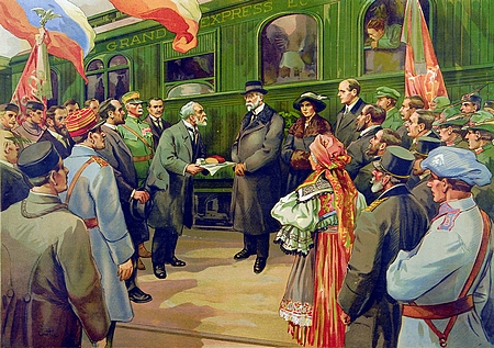 """Příjez TGM do Horního Dvořiště 20. prosince roku 1918 na prvorepublikovém """"státotvorném"""" školním obraze"""