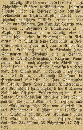 """Zpráva o početních stavech """"Volkswehru"""" vokrese Kaplice k 1. prosinci roku 1918"""