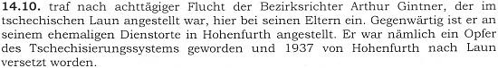 Zápis v pamětní knize farní obce Horní Dvořiště z října roku 1938 o jeho návratu k rodičům a k soudcovské funkci ve Vyšším brodě