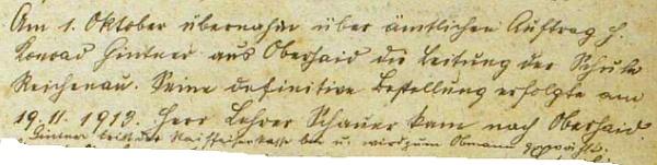 Záznam o příchodu Konrada Gintnera z Horního Dvořiště do Rychnova nad Malší v obecní kronice