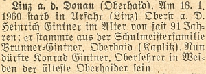 Podle této zprávy krajanského měsíčníku o skonu jeho bratra Heinricha, byl Konrad řídícím učitelem ve Weiden apo bratrově smrti nejstarším mezi vyhnanými krajany zHorního Dvořiště
