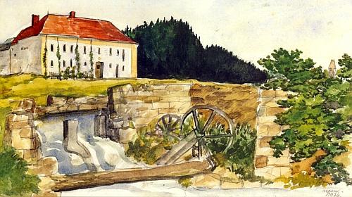 Městský (Merhautův) mlýn v Rychnově nad Malší na akvarelu Zdeňka Jiráně