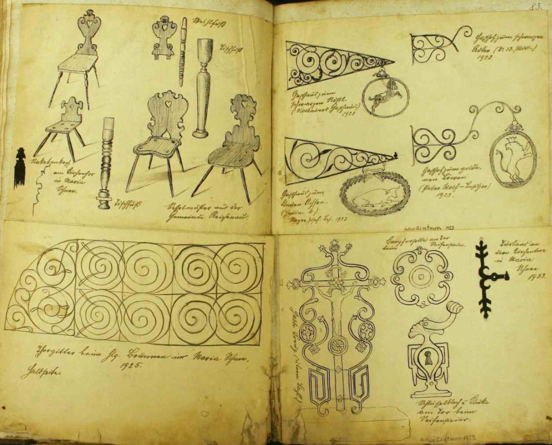 Výtvarně nadaný syn Arthur kreslil panu učiteli Gintnerovi obrázky do obecní kroniky (viz i Arthur Gintner)