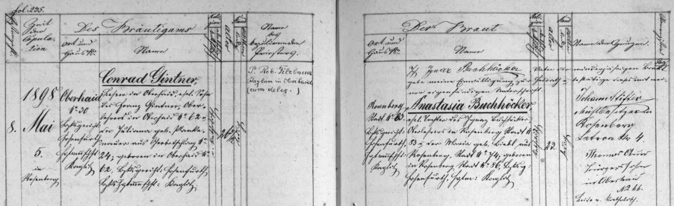 Jeho svatba v Rožmberku nad Vltavou na stránkách tamní oddací matriky