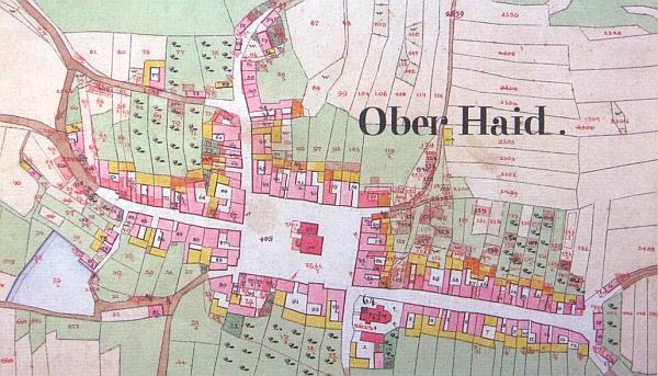 Horní Dvořiště na originále mapy stabilního katastru z roku 1826