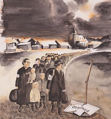 """Toho už se nedožil: vyhnání Němců z Horního Dvořiště na obraze Klause Lottnera, který se v tehdy """"říšském"""" Oberhaid narodil 8. října 1943"""
