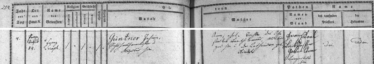 Na záznamu v křestní matrice je psáno novorozencovo jméno ještě Franz Seraph Güntner