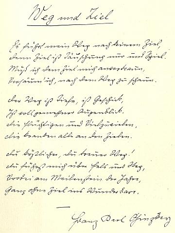 Rukopis jiné jeho básně Cesta a cíl