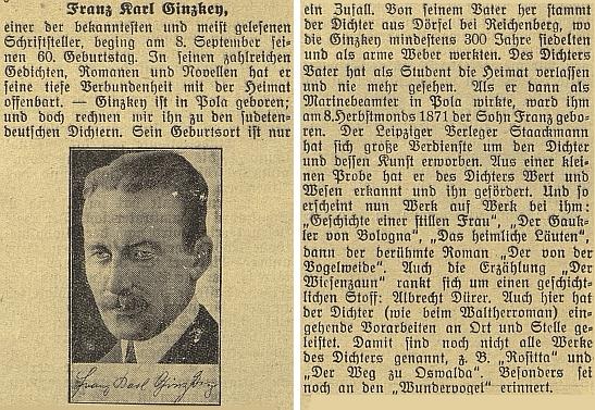 Článek k jeho šedesátinám v budějovickém německém listu s připomínkou českého původu po otci