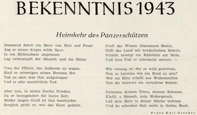 """Jeho neskutečné """"vyznání"""" z roku 1943 líčí tankové střelce wehrmachtu jako nevinné něžné děti, pokud se právě vítězně neřítí mořem krve a ohně"""