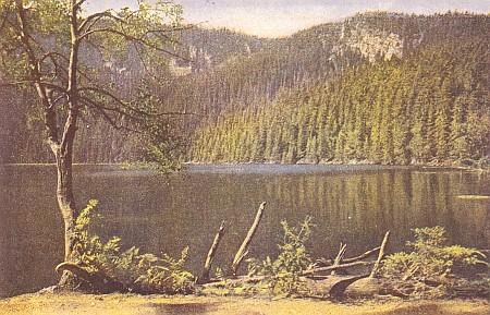 Plešné jezero na staré pohlednici