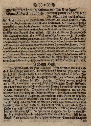 Titulní list jeho díla (1758) a stránka s Husovým životopisem