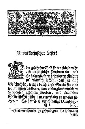 Titulní list a úvodní strana jeho jiné knihy o papežce Johanně