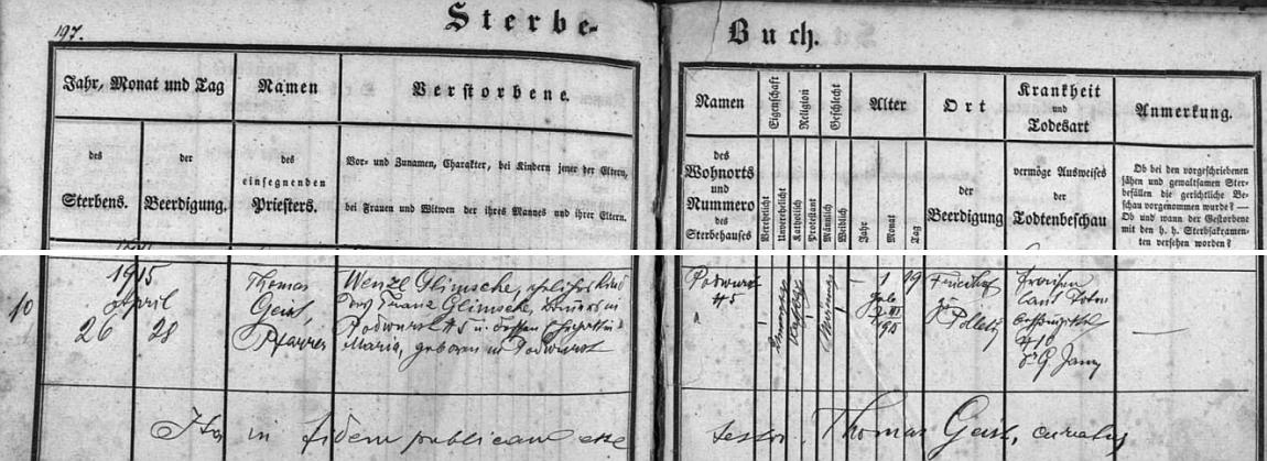Zápis boletického faráře Thomase Geista o úmrtí jeho malého bratra Wenzla Glimsche z Podvoří čp. 5, syna Franze a Marie Glimschových