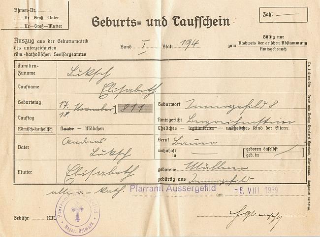 Jím podepsaný opis rodného listu kvildské farnosti z 6. srpna roku 1939, kdy tu působil