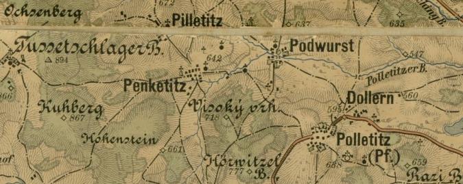 Rodné Podvoří s blízkými, rovněž ovšem dnes zaniklými Bílovicemi, Beníkovicemi a Dolany na staré mapě